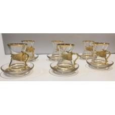 Elegant Small Tea Cups Set With Metal Handle - 12042018419